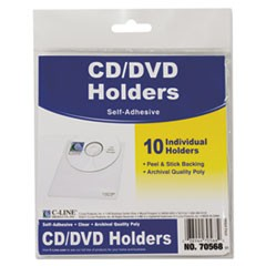 1Self-Adhesive CD Holder, 5 1/3 x 5 2/3, 10/PK