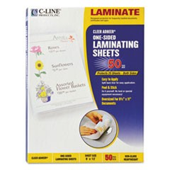 "Cleer Adheer Self-Adhesive Laminating Film, 2 mil, 9"" x 12"", Non-Glare Clear, 50/Box"
