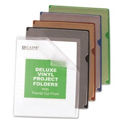 Deluxe Vinyl Project Folders, Letter Size, Assorted Colors, 35/Box