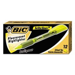 Brite Liner + Highlighter, Chisel Tip, Fluorescent Yellow Ink, Dozen