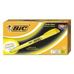 Brite Liner Highlighter, Chisel Tip, Fluorescent Yellow Ink, Dozen