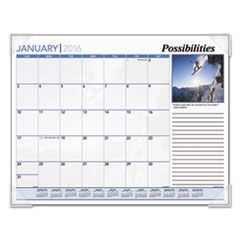 Inspirational Monthly Desk Pad Calendar, 22 x 17, Inspirational, 2016