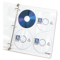 1Deluxe CD Ring Binder Storage Pages, Standard, Stores 8 CDs, 5/Pack