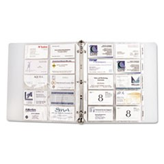 1Tabbed Business Card Binder Pages, 20 Cards Per Letter Page, Clear, 5 Pages