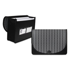 Circle Pattern Expanding File, Letter, 1-Pocket, Document Case, Black/Gray