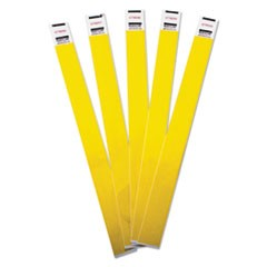 Crowd Management Wristbands, Sequentially Numbered, Yellow, 100/Pack