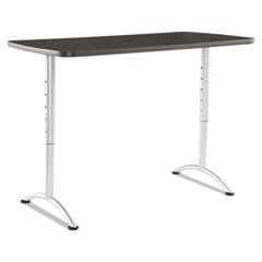 ARC Sit-to-Stand Tables, Rectangular Top, 30w x 60d x 30-42h, Gray Walnut/Silver