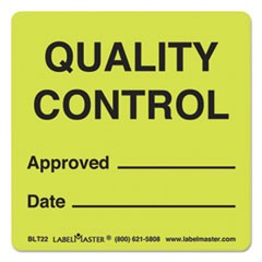 Warehouse Self-Adhesive Label, 3 x 3, QUALITY CONTROL APPROVED/DATE, 500/Roll