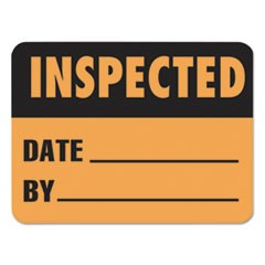 Warehouse Self-Adhesive Label, 2 x 1 1/2, INSPECTED/DATE/BY, 500/Roll