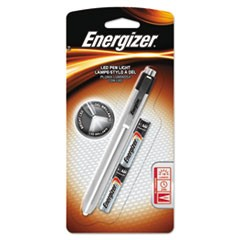 LED Pen Light, 2 AAA Batteries (Included), Silver/Black
