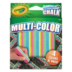 Washable Sidewalk Chalk 4 Colors in 1, Assorted, 5 Sticks/Pack