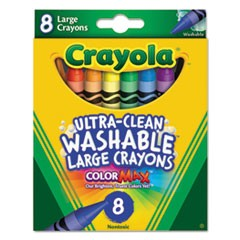 Ultra-Clean Washable Crayons, Large, 8 Colors/Box