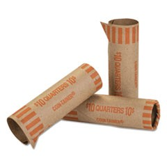 Preformed Tubular Coin Wrappers, Quarters, $10, 1000 Wrappers/Box