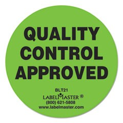"Warehouse Self-Adhesive Label, 2"" dia., QUALITY CONTROL APPROVED, 500/Roll"