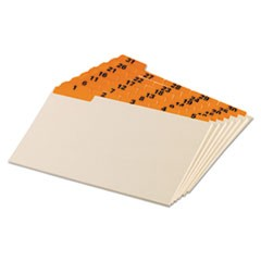 Manila Index Card Guides with Laminated Tabs, 1/5-Cut Top Tab, 1 to 31, 5 x 8, Manila, 31/Set