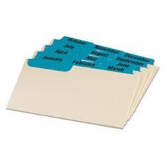 Manila Index Card Guides with Laminated Tabs, 1/3-Cut Top Tab, January to December, 3 x 5, Manila, 12/Set