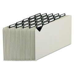 Steel Top Tab A-Z File Guides, 1/5-Cut Top Tab, A to Z, 8.5 x 14, Gray, 25/Set