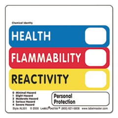 Warehouse Self-Adhesive Label, 2 x 2, HEALTH, FLAMMABILITY, REACTIVITY, 500/Roll