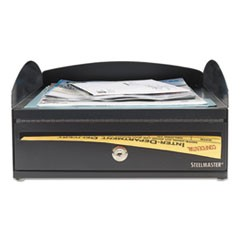 LockIt Inbox Desk Tray, Single Tier w/Locking Box, 11 x 14 1/4 x 5 7/8, Black