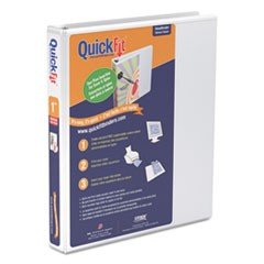 "QuickFit Round-Ring View Binder, 1"" Capacity, White"