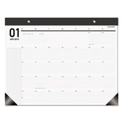 Polished Professional Monthly Desk Pad, Black/Silver, 22 1/4x17 1/4, White, 2016