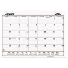 One-Color Dated Monthly Desk Pad Calendar Refill, 22w x 17h, 2016