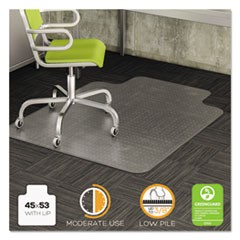 DuraMat Moderate Use Chair Mat for Low Pile Carpet, 45 x 53 w/Lip, Clear