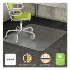 DuraMat Moderate Use Chair Mat, Low Pile Carpet, Roll, 45 x 53, Rectangle, Clear