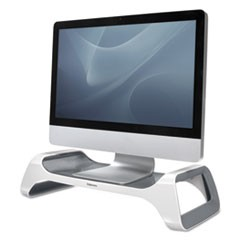 Monitor Riser, 8 7/8 x 20 x 4 7/8, White/Gray