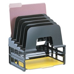 Incline Sorter, 2 Trays, 5-Compartments, Plastic, 9.12w x 13.5d x 14h, Black
