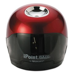 "iPoint Ball Battery Sharpener, Battery-Powered, 3"" x 3"" x 3.25"", Red/Black"
