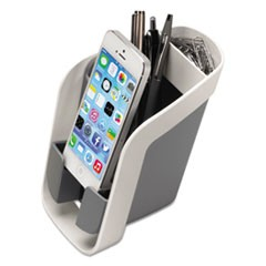 I-Spire Series Pencil and Phone Station, 3 15/16 x 5 9/16 x 5 1/2, White/Gray