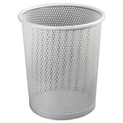 "Urban Collection Punched Metal Wastebin, 20.24 oz, 9"" Diameter, Steel, White Satin"