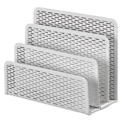 "Urban Collection Punched Metal Letter Sorter, 3 Sections, DL to A6 Size Files, 6.5"" x 3.25"" x 5.5"", White"
