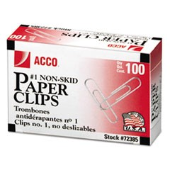 Nonskid Economy Paper Clips, #1, Silver, 100/Box, 10 Boxes/Pack