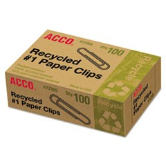Recycled Paper Clips, No. 1 Size, 100/Box, 10 Boxes/Pack