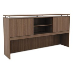 Alera Sedina Series Hutch with Sliding Doors, 72w x 15d x 42.5h, Modern Walnut