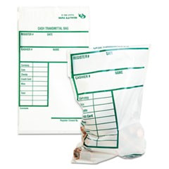 1Cash Transmittal Bags w/Printed Info Block, 6 x 9, Clear, 100 Bags/Pack