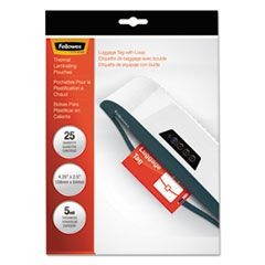 Laminating Pouches, Luggage Tag Style, 5mil, 4 1/4 x 2 1/2, 25/Pack