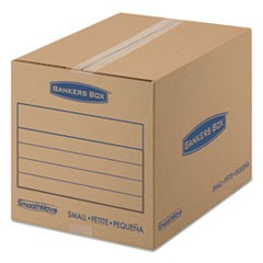 "SmoothMove Basic Moving Boxes, Small, Regular Slotted Container (RSC), 16"" x 12"" x 12"", Brown Kraft/Blue, 25/Bundle"