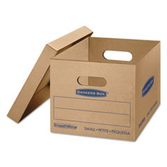 SmoothMove Classic Moving & Storage Boxes, Small, Half Slotted Container (HSC), 15 x 12 x 10, Brown Kraft/Blue, 10/Carton