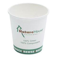 Compostable Live-Green Art Hot Cups, 10oz, White, 50/Pack