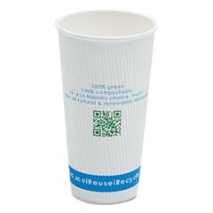 Compostable Insulated Ripple-Grip Hot Cups, 20oz, White, 25/Pack