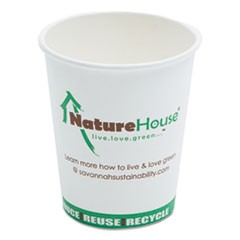 Compostable Live-Green Art Hot Cups, 8oz, White, 1000/Carton