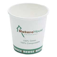 Compostable Live-Green Art Hot Cups, 10oz, White, 1000/Carton