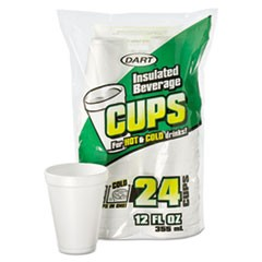 Small Foam Drink Cup, 12 oz, Hot/Cold, White, 24/Bag, 12 Bags/Carton