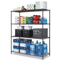 All-Purpose Wire Shelving Starter Kit, 4-Shelf, 60 x 24 x 72, Black Anthracite Plus