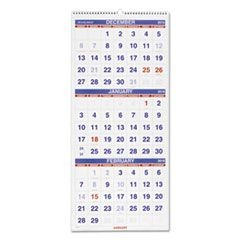 Vertical-Format Three-Month Reference Wall Calendar, 12 1/4 x 27, 2015-2017