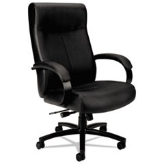 Validate Big and Tall Leather Chair, Supports up to 450 lbs., Black Seat/Black Back, Black Base