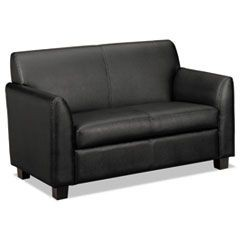 VL870 Series Leather Reception Two-Cushion Loveseat, 53 1/2 x 28 3/4 x 32, Black